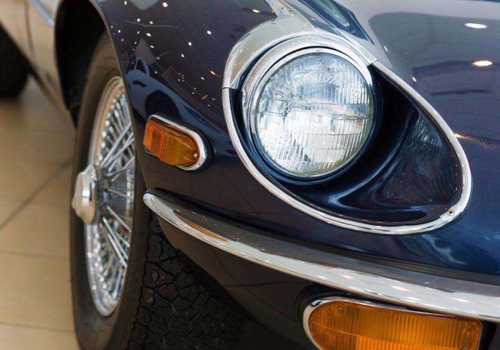 a headlight of vintage car