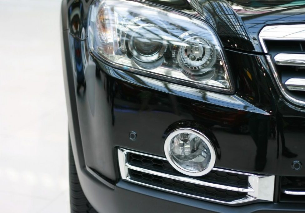 a headlight of the black car